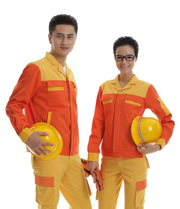 橘黄色纯棉长袖工作服