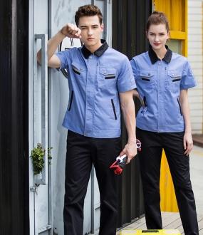 浅蓝色半袖工作服
