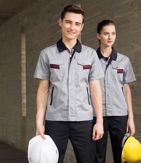 浅灰色半袖工作服