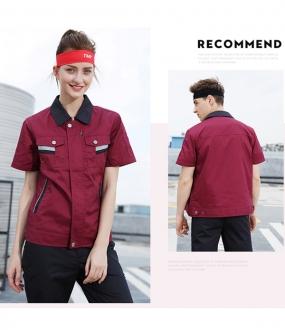 枣红色半袖工作服